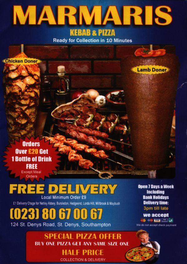Marmaris Menu showing Donner Kebab and Chicken Kebab for delivery or collection in Southampton